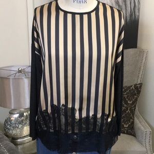 Zara Black & Gold Stripe Top